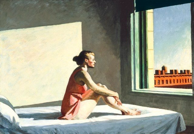 Hopper woman on bed